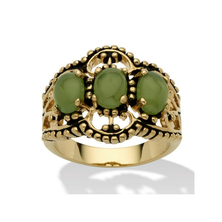 Oval Genuine Green Jade Antiqued 14k Yellow Gold-Plated Triple-Stone Filigree Ring