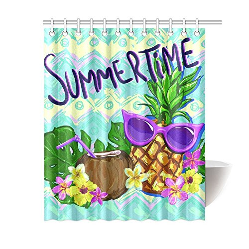 Waterproof Polyester Tropical Palm Leaves Pineapples Shower Curtain Bathroom Set