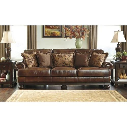 Ashley leather living room furniture Modern Walmart Ashley Furniture Hutcherson Leather Sofa In Harness Walmartcom