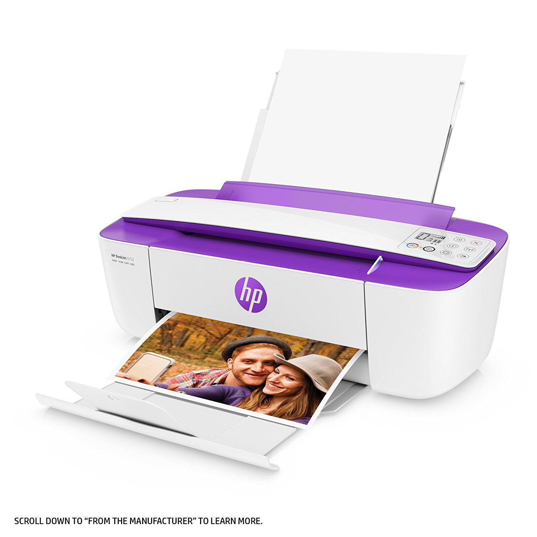 HP DeskJet 3755 All-in-One Printer in White and Dark Blue (Certified Refurbished)