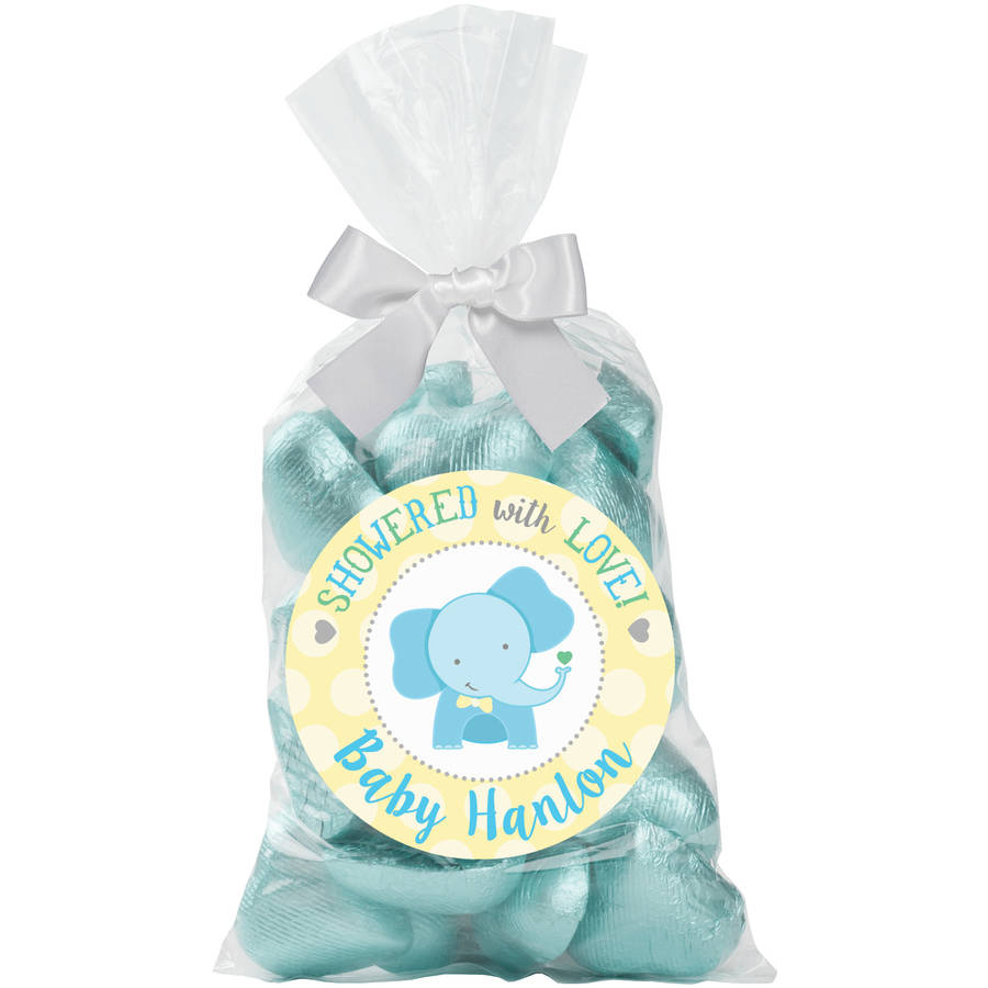 Showered with Love with Love Pink, Blue or Green Personalized 24-Piece Sticker and Treat Bag Set
