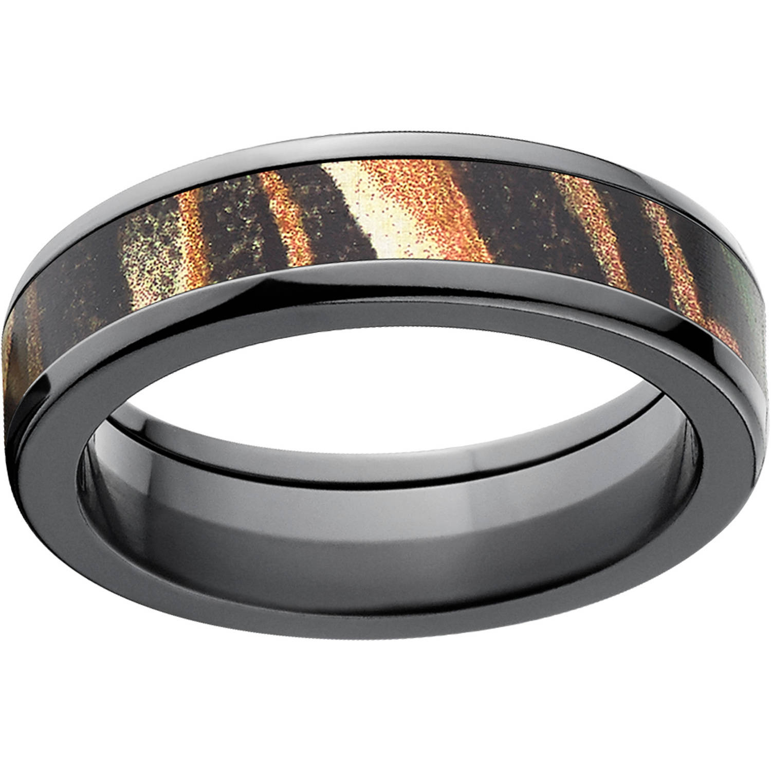 Mossy Oak Shadow Grass Men's Camo 6mm Black Zirconium Band with Polished Edges and Deluxe Comfort Fit