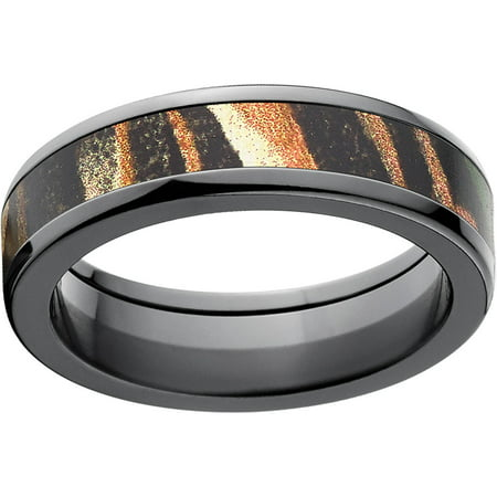 Shadow Grass Men's Camo 6mm Black Zirconium Band with Polished Edges and Deluxe Comfort Fit