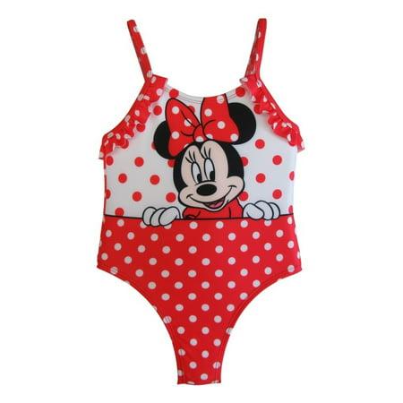 8f563bbdbc85b Disney Baby Girls White Red Polka Dots Minnie Ruffles One Piece Swimsuit