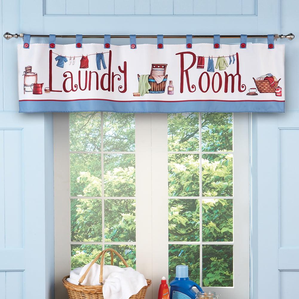 Laundry Room Da C Cor Window Curtain Valance With Tab Top Button Design Walmart Com Walmart Com