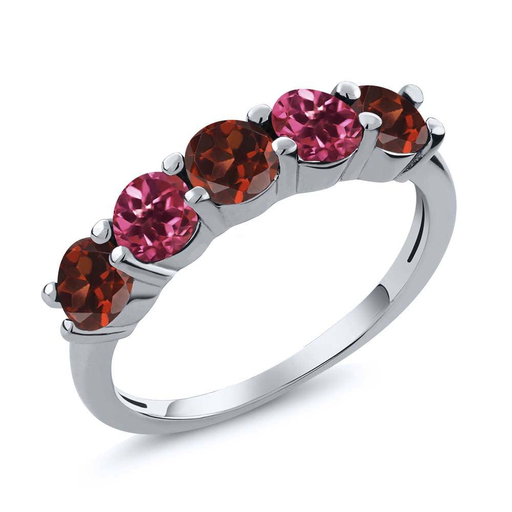 0.90 Ct Round Red Garnet Pink Tourmaline 18K White Gold Wedding Band Ring by