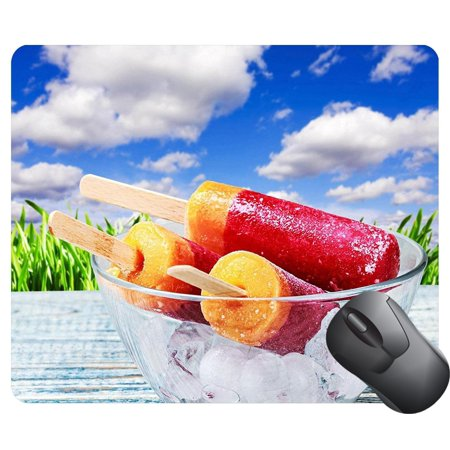 POPCreation ice cream on a plate with ice on a wooden table Mouse pads Gaming Mouse Pad 9.84x7.87 inches ()