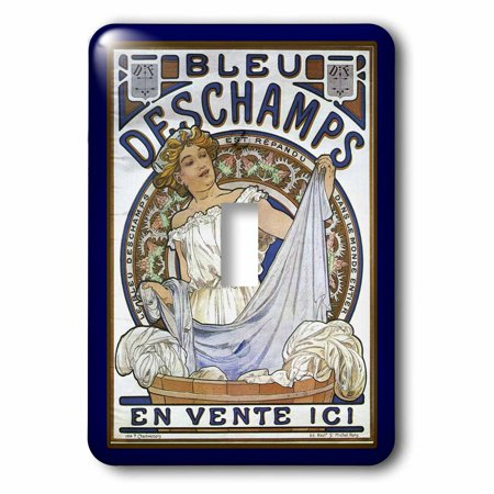 3dRose Art Nouveau Lady With Laundry In Blues - Single Toggle Switch (lsp_43812_1)
