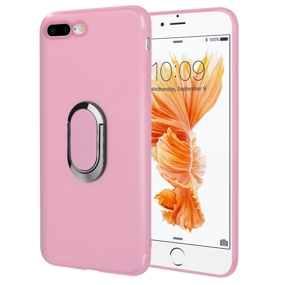 Phone Case for iPhone 8 / 7 Plus Soft Tpu Case With Rotatable Magnet Ring Stand - Pink