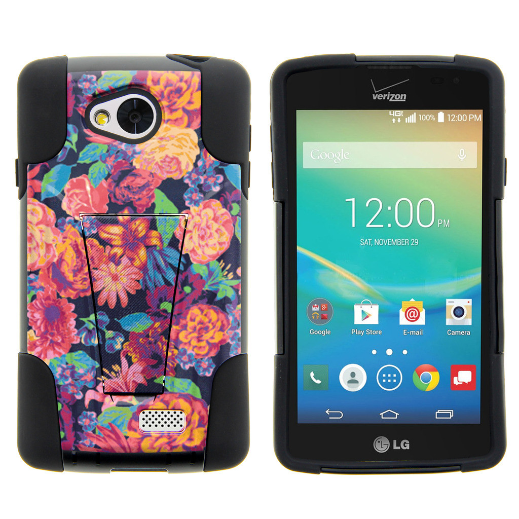 LG Tribute, LG Transpyre and LG Optimus F60 STRIKE IMPACT Dual Layered Shock Resistant Case with Built-In Kickstand by Miniturtle® - Floral Dream