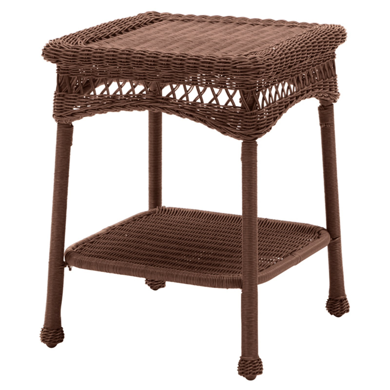 Coral Coast Casco Bay Resin Wicker Side Table by Chi Wing Rattan Factory