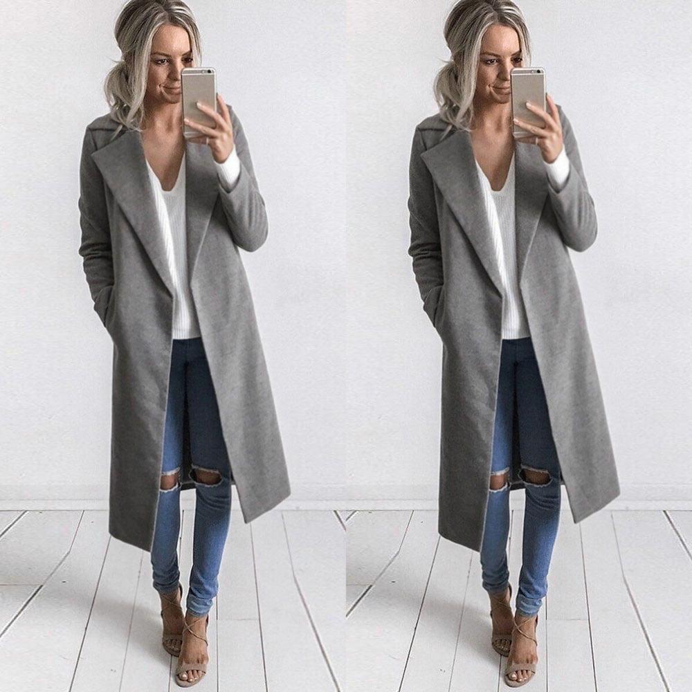 Winter Womens Long Coat Lapel Parka Jacket Cardigan Overcoat Outwear Gray L by