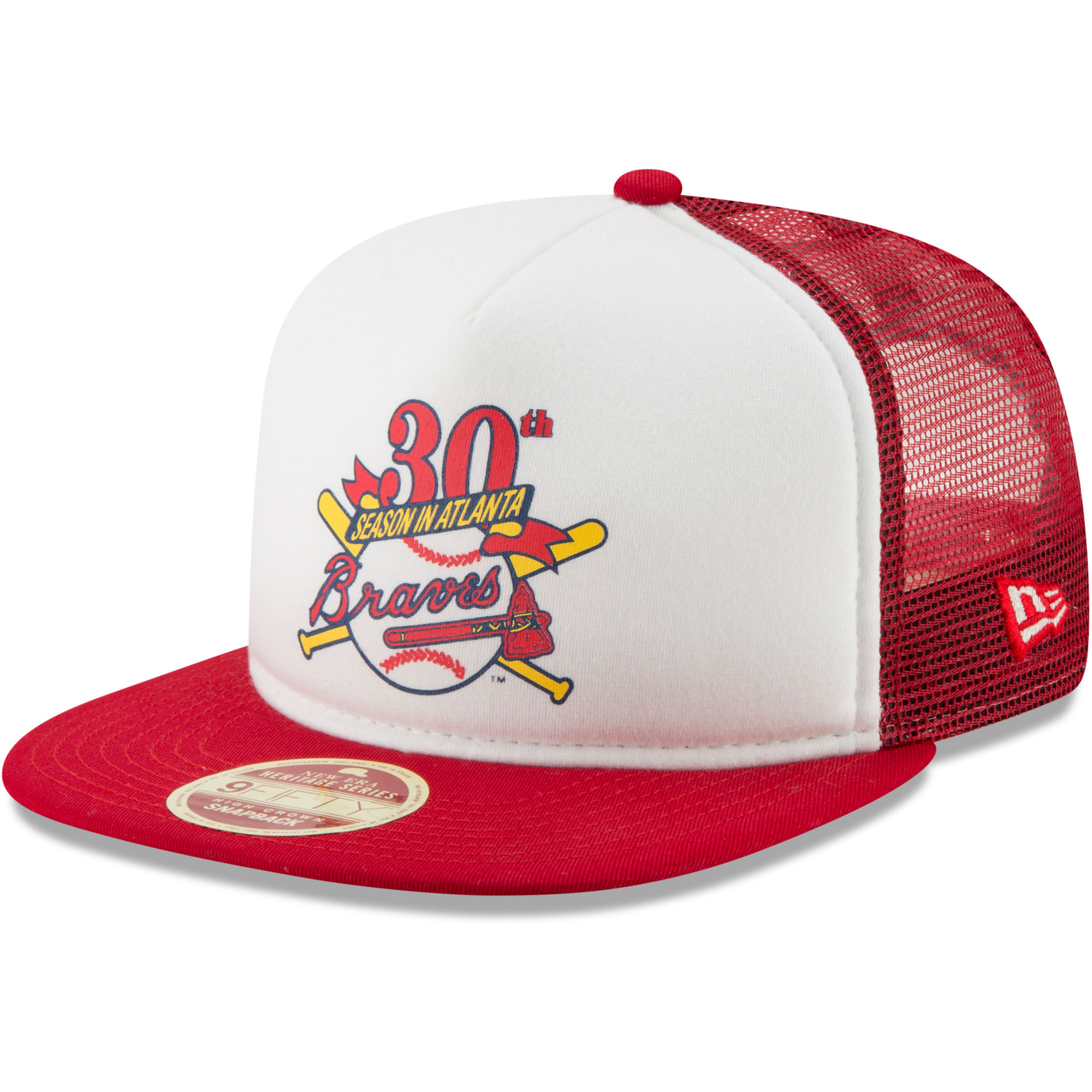 Atlanta Braves New Era Cooperstown Collection Foam Trucker 9FIFTY Snapback Adjustable Hat - White/Red - OSFA
