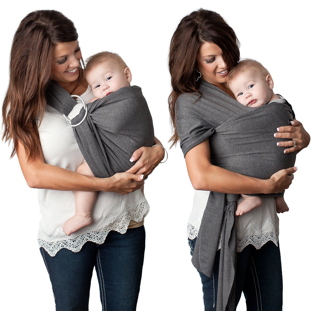 Kids N' Such 4 in 1 Baby Wrap Carrier and Ring Sling - Use as a Postpartum Belt or Nursing Cover - FREE Carrying Pouch - Best Baby Shower Gift for Boys or Girls - Premium Cotton Blend - Charcoal Grey