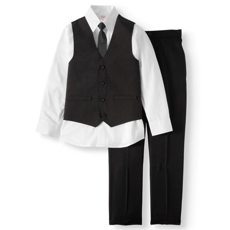 Dressy Set with Pinstripe Vest, White Dress Shirt, Skinny Tie, and Black Pull-On Pants, 4-Piece Outfit Set (Little Boys & Big Boys) (Prince Outfit For Baby Boy)