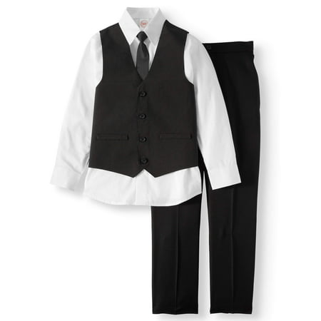 Dressy Set with Pinstripe Vest, White Dress Shirt, Skinny Tie, and Black Pull-On Pants, 4-Piece Outfit Set (Little Boys & Big Boys)