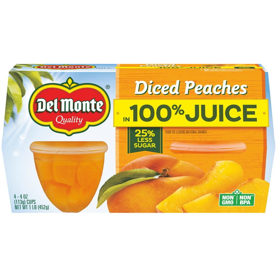 (8 Cups) Del Monte Diced Peaches, 4 oz cups