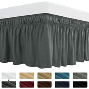 Subrtex Easy Fit Dust Ruffle, Wrap around Bed Skirts with Long Tailored Drop(Queen, Gray)