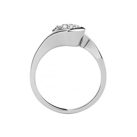 Cubic Zirconia Swirl Engagement Sterling Silver Ring - image 1 de 7