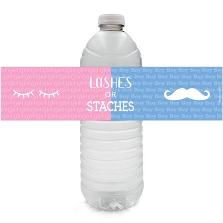 Gender Reveal Water Bottle Stickers 24ct | Boy or Girl | Lashes or Staches Party Favor Decoration Labels (Boy Gender Reveal)