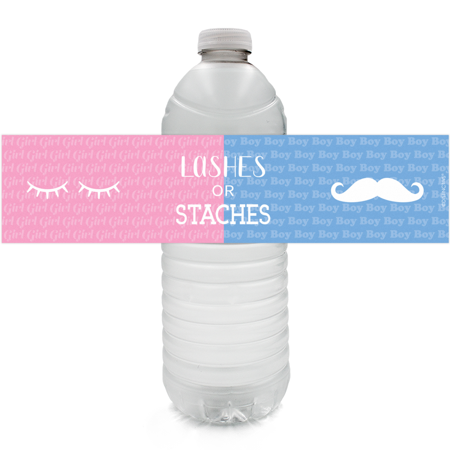 Gender Reveal Water Bottle Stickers 24ct | Boy or Girl | Lashes or Staches Party Favor Decoration Labels
