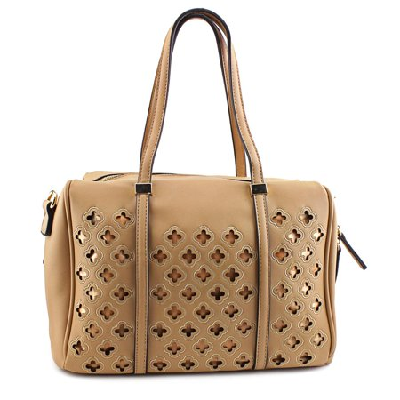 MG Collection Beatriz Cutout Bowling Tote Women  Synthetic Tan Shoulder