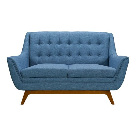 Super Janson Mid Century Loveseat In Champagne Wood Finish And Blue Fabric Inzonedesignstudio Interior Chair Design Inzonedesignstudiocom