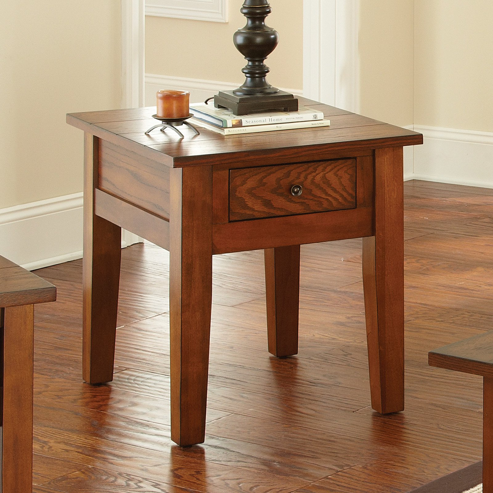 Steve Silver Desoto Rectangle Dark Oak Wood End Table