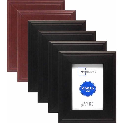 "2.5"" x 3.5"" Stepped Wood Mini Frame Assortment, Set of 6 (4 Black and 2 Walnut)"