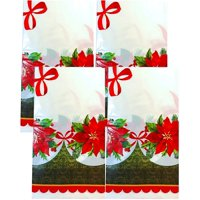"Christmas Holiday Plastic Printed Poinsettia Flower Holly Tablecover; 108"" x 54"" (4 Tablecovers)"
