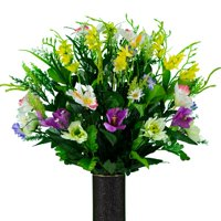Sympathy Silks Artificial Cemetery Flowers - Realistic - Outdoor Grave Decorations - Non-Bleed Colors, and Easy Fit -Purple Yellow Spring Wildflower Mix Bouquet