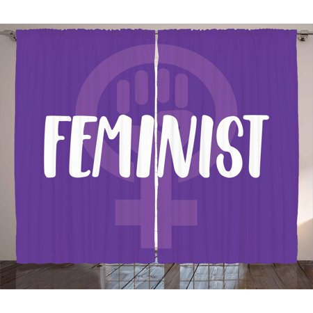 Symbol For Venus (Feminist Curtains 2 Panels Set, Feminist Hand-Drawn Lettering About Women and Girls with Venus Symbol, Window Drapes for Living Room Bedroom, 108W X 84L Inches, Violet White and Purple, by)