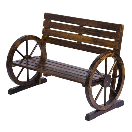 Leshp Patio Garden Park Wooden Wagon Wheel Bench Chairs Rustic Wood Design