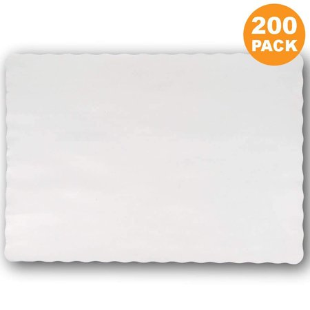 Disposable 14 x 10' Plain White Paper Placemat with Decorative Wavy Scalloped Edge [200 - Disposable Placemats