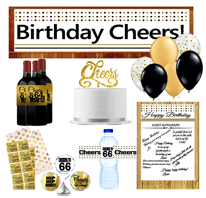 66th Birthday Party DecorationsDecoraitons Kit w. Banner ...