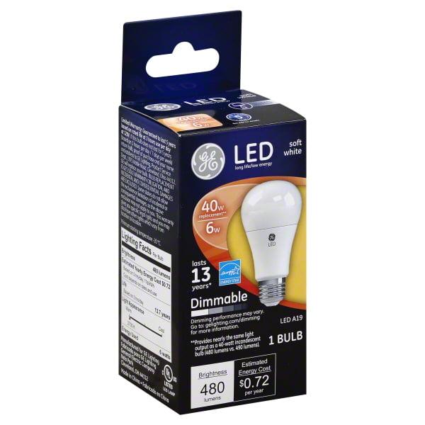 GE LED Soft White Dimmable Lightbulb 480 Lumens, 1.0 CT