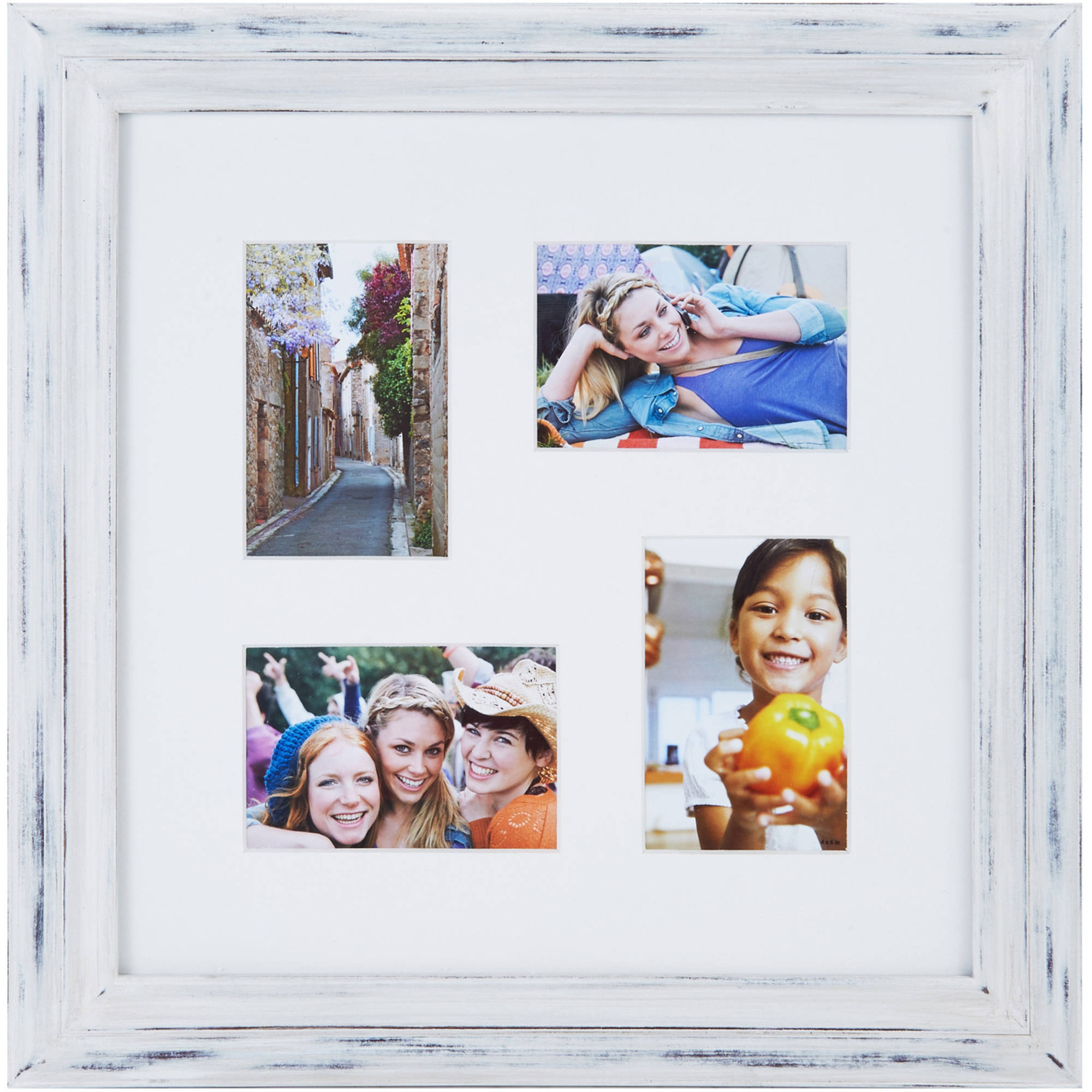Melannco 4 Opening Distressed White Photo Collage, Picture Frame