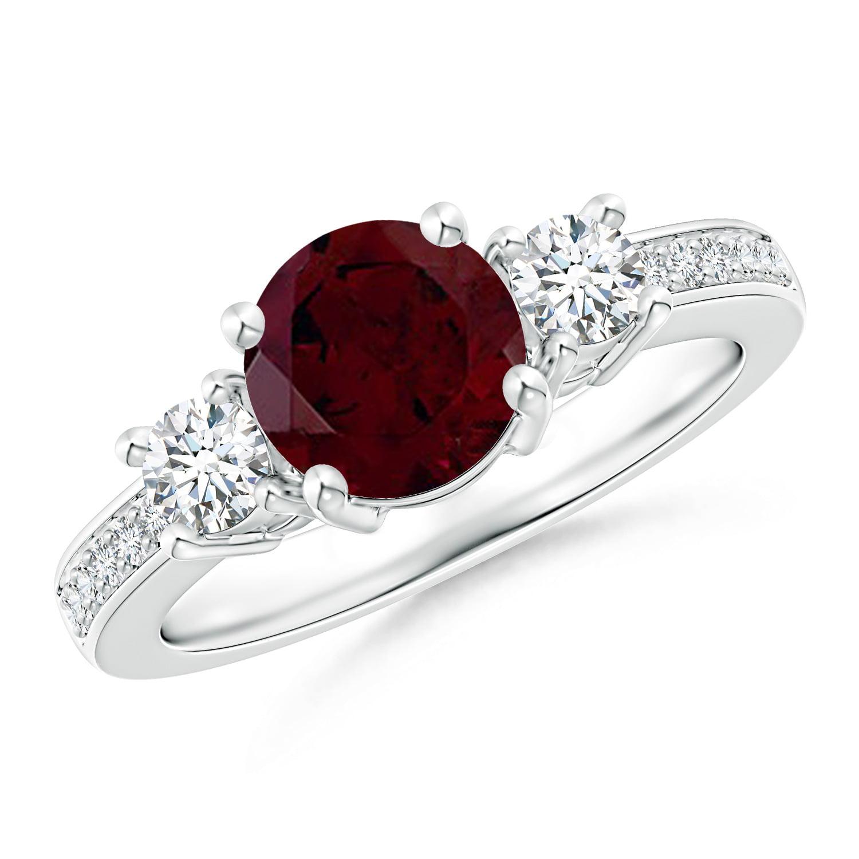 January Birthstone Ring Classic Three Stone Garnet And Diamond