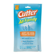 Cutter All Family Mosquito Wipes, Resealable Pouch, 15-Count