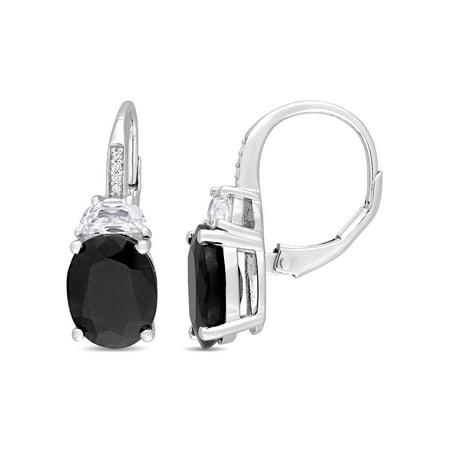 Created Sapphire Leverback Earrings (Miabella 8 Carat T.G.W. Black Sapphire, Created White Sapphire and Diamond-Accent Sterling Silver Oval Leverback Earrings)