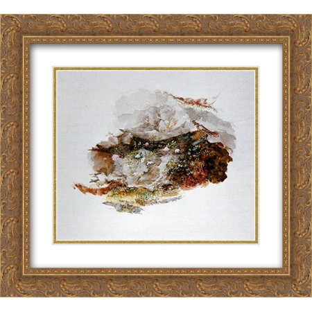 John Ruskin 2x Matted 22x20 Gold Ornate Framed Art Print 'Study of Foreground Material