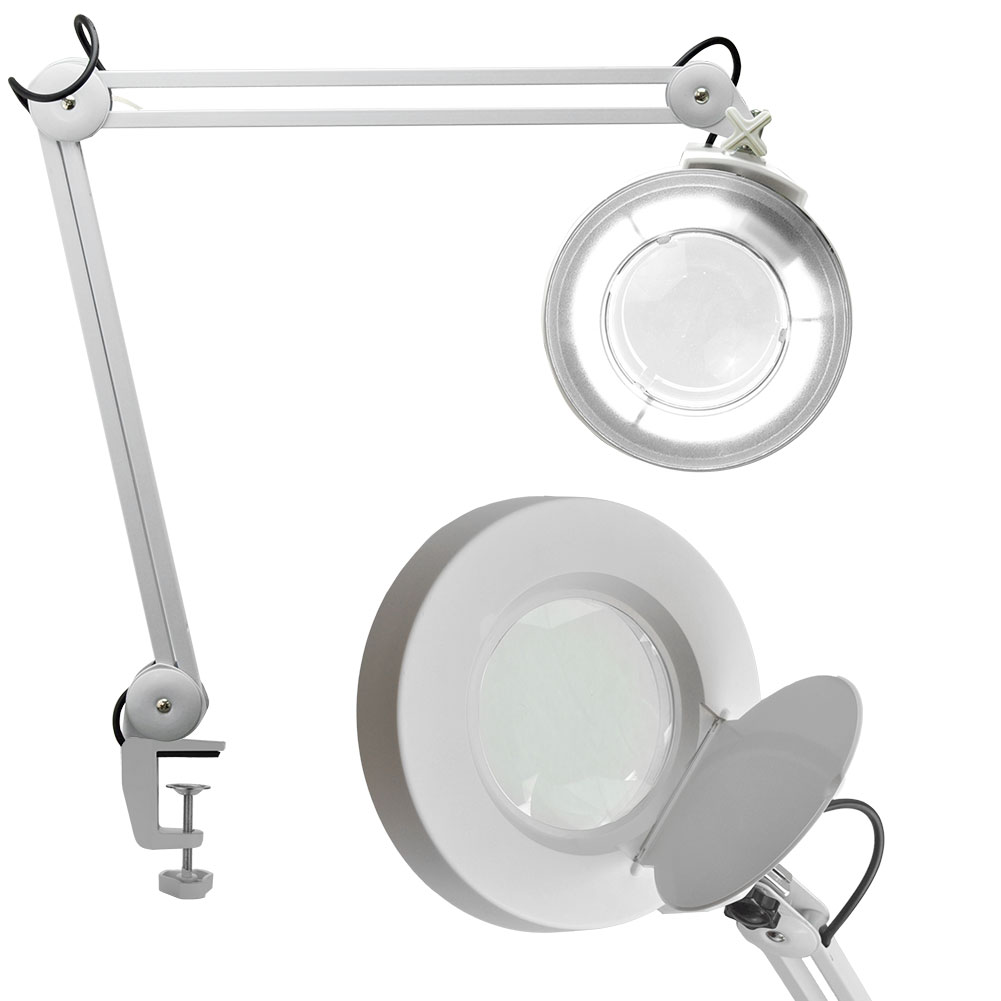 Salon Supply Store 5X Magnification Adjustable Magnifying Desk Lamp WHITE