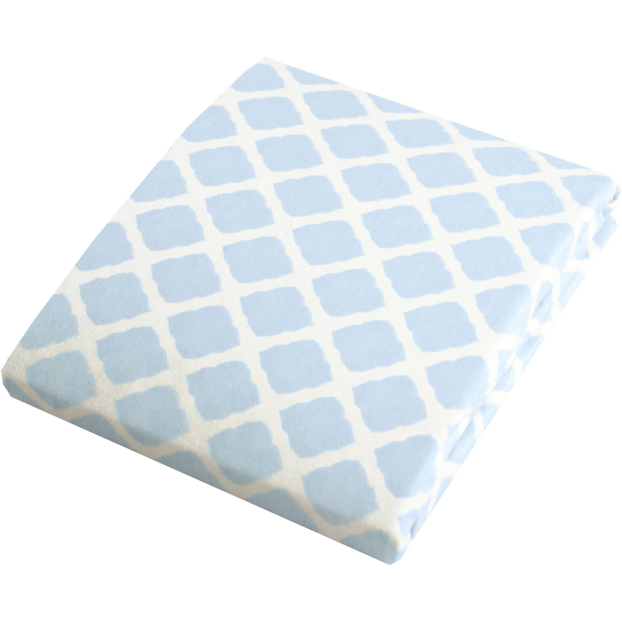 Kushies Bassinet Fitted Flannel Sheet, Lattice Blue