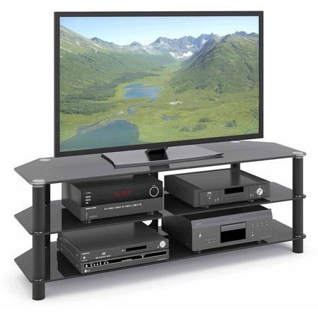 CorLiving Trinidad Black Glass TV Stand for TVs up to 60″