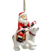 Cosmos Gifts Santa Riding Polar Bear Ornament