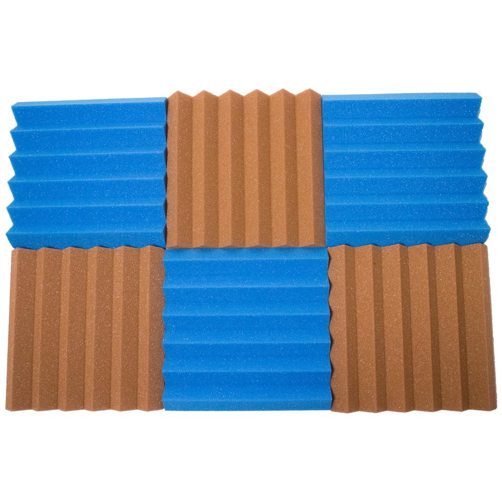 Seismic Audio 6 Pack of Brown / Blue 2 Inch Studio Acoustic Foam Wedge Tiles Sheets - 3 Each - SA-FMDM2-Brown-Blue-3Each