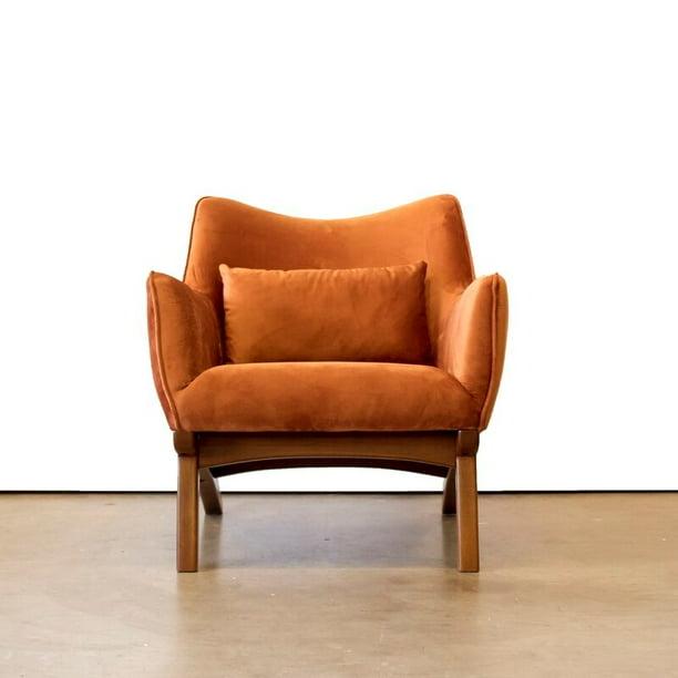 Mid Century Modern Gatsby Orange Velvet, Modern Orange Accent Chair