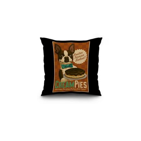 Boston Terrier - Retro Cream Pie Ad - Lantern Press Artwork (16x16 Spun Polyester Pillow, Black
