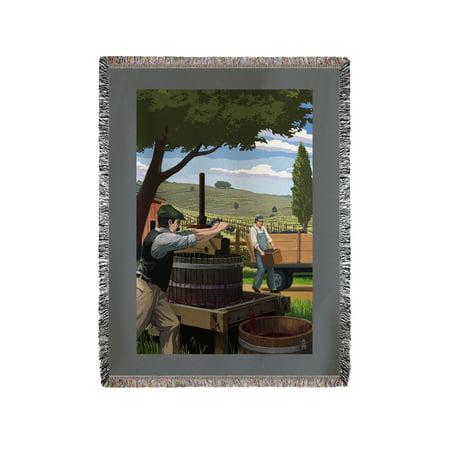 Wine Grape Crushing   Lantern Press Artwork  60X80 Woven Chenille Yarn Blanket