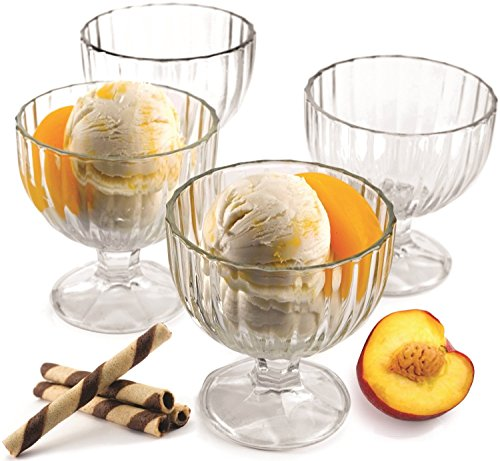 Palais Glassware 'Crème Glacée' High Quality, Clear Glass, Ice Cream Dessert Bowls - Set of 4 - 9 Oz.